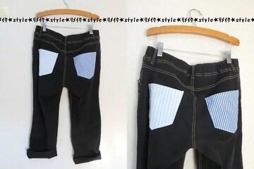 3L/大きいサイズ/ブラックデニム/ストライプ柄ポケット/リメイクパンツ