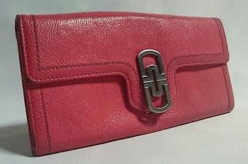正規 BVLGARIブルガリ パレンテシ×ロゴクリップ長財布 小銭入れ有 ピンク系