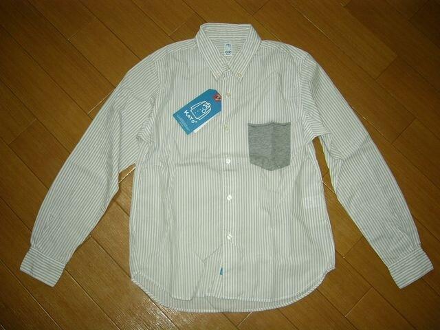 新品KATO'カトーストライプシャツXS灰白系定価半額以下  < 男性ファッションの