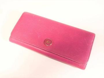 ☆送料込☆ロエベ カーフ製小銭入れ付き長財布 チェリーピンク