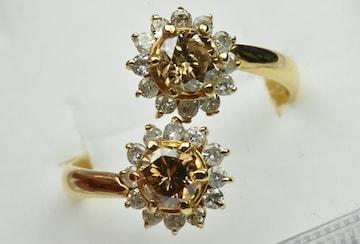 【鑑別】K18 合計 1.28ct ダイヤモンドリング 14号 くらい