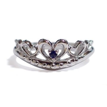 【9月の誕生石サファイア】シルバー925リング 指輪 ティアラ