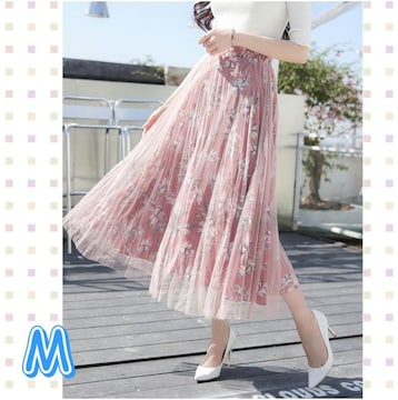 即決〓春夏〓花柄チュール ゴムスカートピンク M