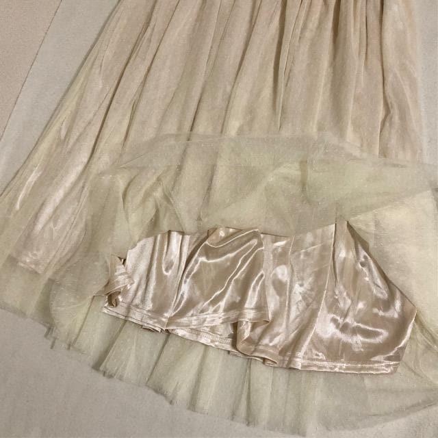 チュールスカート プリーツスカート LL 新品 < 女性ファッションの