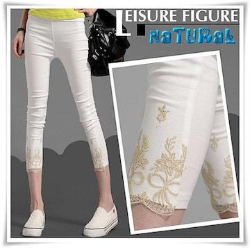 新作★大きいサイズ 5L 綺麗な裾刺繍七分丈ストレッチレギンス*白