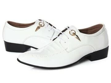 26.5 エナメル ドレスシューズ 靴 トンガリ メンズ ヤクザ オラオラ お兄系 ホスト 116白
