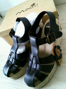 Mooi!◆本革◆美脚ウエッジソールサンダル◆L◆新品◆