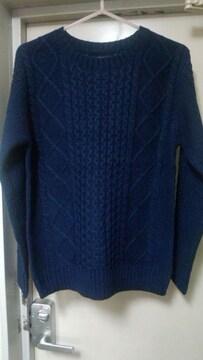 ニット セーター クルーネック Mサイズ ネイビー 新品