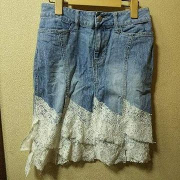 C.D.S★used★裾レース付デニムスカートM