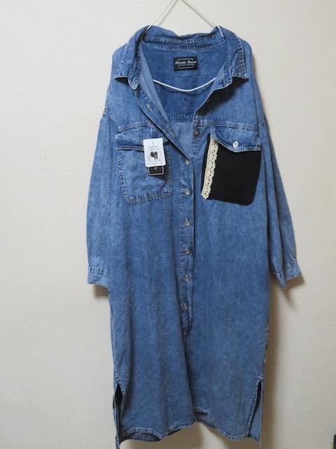 3L/大きいサイズ/ウォッシュデニム/後ろロゴ&レース/リメイクシャツチュニック < 女性ファッションの