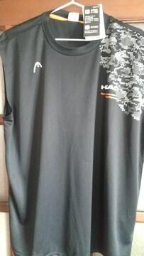 3Lサイズブランド品HEAD!抗菌防臭テープ&吸水速乾!サラッと黒ノースリーブTシャツ!