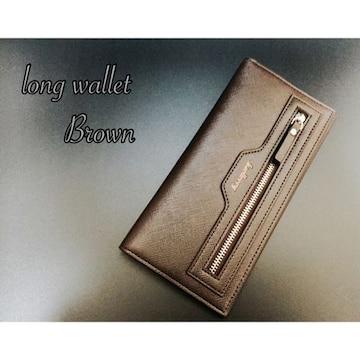 長財布 二つ折り財布 レザー ジップ 札 小銭入れ カード 茶色