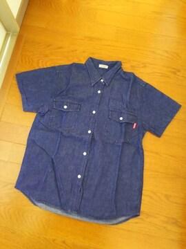 美品160サイズ/半袖デニム風シャツ/ネイビー