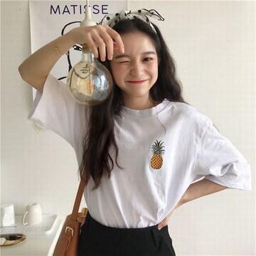 五分袖Tシャツ レディース カジュアル 果物柄 ホワイト