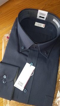 5Lサイズ濃紺系色!渋い男感!形態安定!襟&袖裏別布デザイン長袖ワイシャツ!