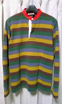 バーバリアン ラガーシャツ 長袖カットソー Sサイズ ボーダー柄 古着 ユーズド 緑×茶