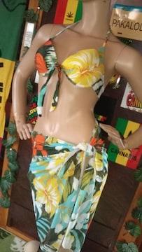 ℃-ute(*´艸`)南国ハイビスカス柄パレオ付ビキニ/水着3点セット