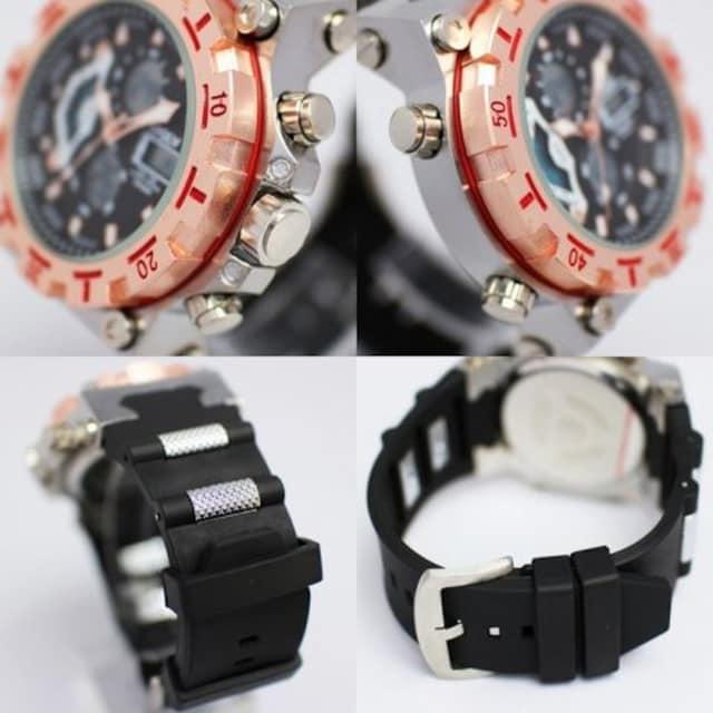 ★アナ&デジ・ダイバーズウォッチ風・MF・腕時計628BKPG