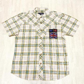 【美品】カジュアル半袖チェックシャツ/メンズS/ベージュ×水色