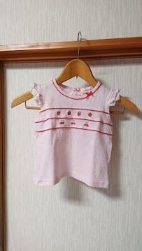イチゴ さくらんぼ 刺繍 レ—ス 袖 フリル Tシャツ 95 ピンク