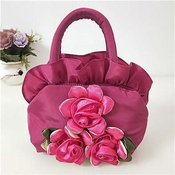 1円新品ローズ&フリルやわらかナイロンハンドバッグ桃色ピンクレディースバラ