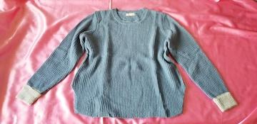 ★ANAPサックスブルー袖口グレー長袖スリット薄手ニットセーター