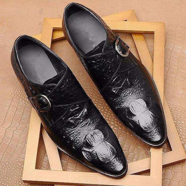 29.0 クロコ ドレスシューズ 靴 トンガリ メンズ ヤクザ オラオラ お兄系 ホスト 117 黒 < 男性ファッションの