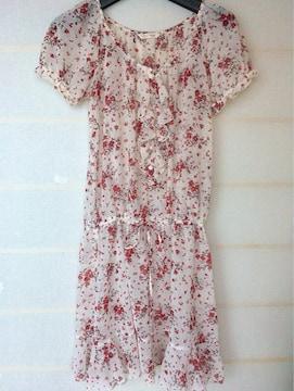 L'EST ROSE シースルー 半袖 花柄 ワンピース 2 N2m