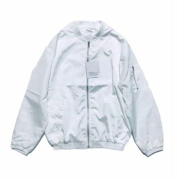 春夏MA-1ホワイト白!ZIP薄手ブルゾンジャンパー(L)新品