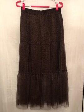 GU チュールロングスカート レオパレード ヒョウ柄 XL