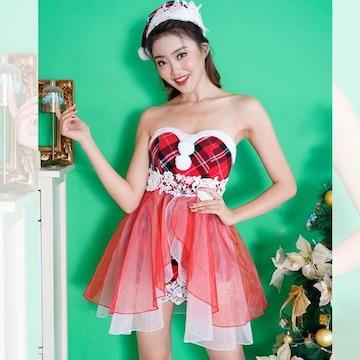 クリスマス コスプレ サンタさん オーガンジーミニドレス 2点セット パーティー キャバ