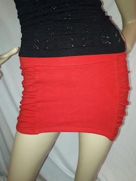ANAP SPORTS シャーリング ミニ スカート 赤 レッド