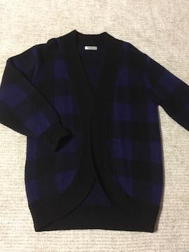 615.ロングニットガウン☆羽織り☆ブロックチェック  ブルー系M