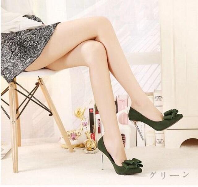 Bigリボン付き☆美脚パンプス ピンヒール ハイヒール < 女性ファッションの