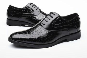 25.5 クロコ ドレスシューズ 靴 トンガリ メンズ ヤクザ オラオラ お兄系 ホスト 119 黒