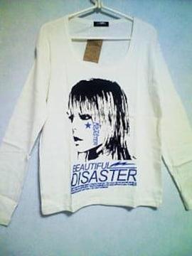 Aー530☆新品☆長袖ガールズロゴTシャツ ホワイト×ブルーL