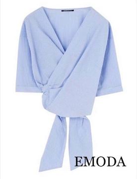 定価5,292円【新品】EMODA●2weyカシュクールストライプシャツ
