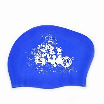 花柄 シリコン スイムキャップ ブルー 1/BJU