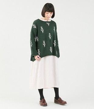 *Lupilien*草花柄 ジャガードニットpo 新品 Dグリーン