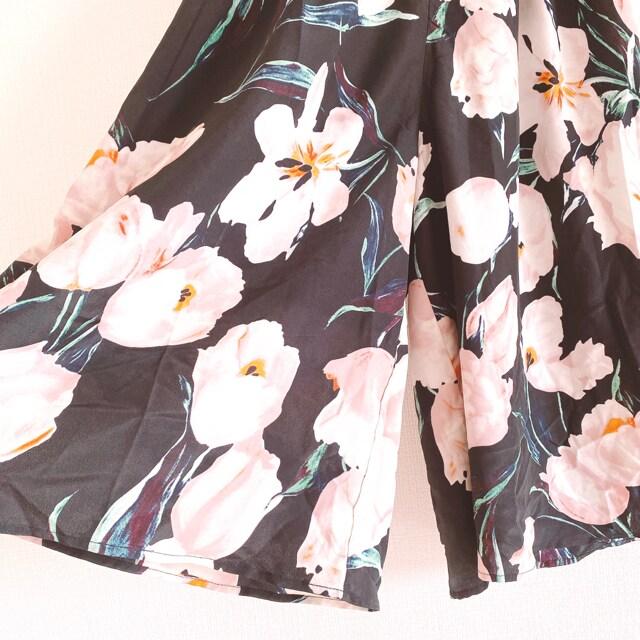 flower黒大花柄フラワーフレアスカートガウチョパンツスカーチョ < ブランドの