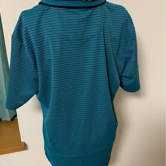 ブルー☆デザイン☆カジュアルポロシャツ☆サイズL < 男性ファッションの