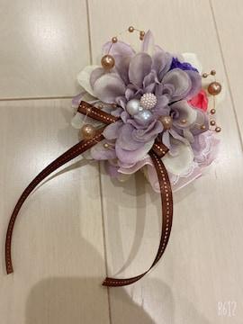 紫グラデパールリボンレース花が可愛いダリア2wayコサージュ