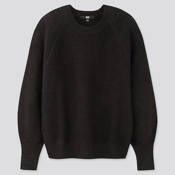 ユニクロ パフスリーブクルーネックセーター 黒  L ニット