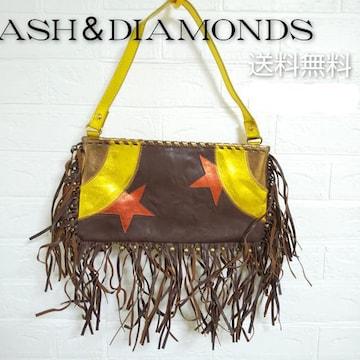 レア★ASH&DIAMONDS★キラキラ皮革bag★中ヒョウ柄裏地★新品