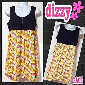 【dizzy】花柄切替胸元ジップワンピ