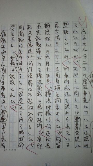オウム真理教・麻原らと闘った江川昭子の手書き生原稿35枚 < 本/雑誌の