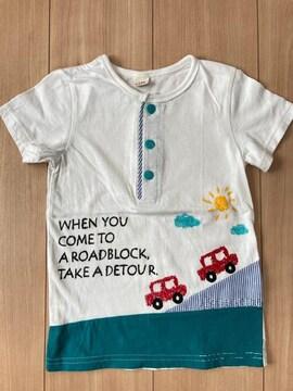 キムラタン ラキエーベ キッズ 半袖Tシャツ サイズ110 車柄 ホワイト 前ボタン