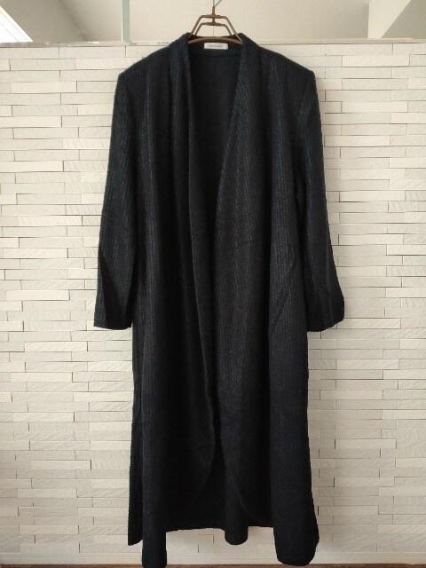 美品即決/Kitano in kobe/ロング丈ガウンカーディガンコート/黒L  < 女性ファッションの