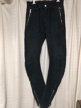 sixx裾ファスナーストレッチ変形デザインパンツサイズ44黒日本製ドメスティックデザイナー
