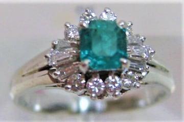 Pt900プラチナ リング指輪 エメラルド0.34ct ダイヤ0.23ct  d